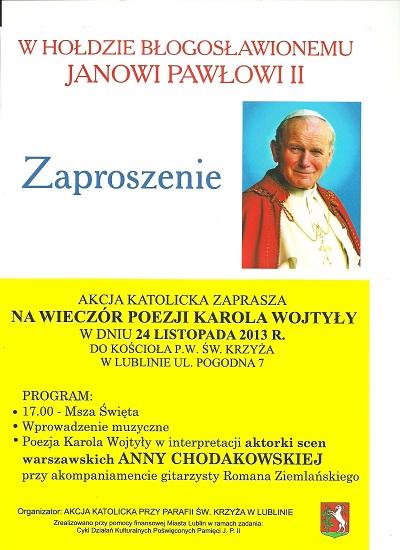 zaproszenie na wieczór poezji Karola Wołtyły